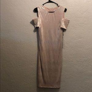 Calvin Klein champagne dress cold shoulder
